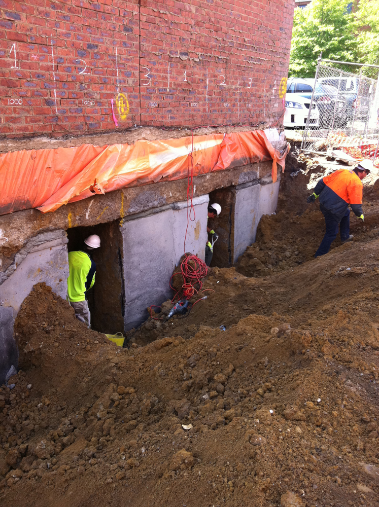 Concrete Underpinning For Sacks : Underpinning in melbourne arkle co pty ltd